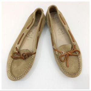 Ecco Tan Flats Size 37 Brown Laces